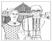 grant wood american gothic dessin à colorier