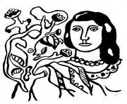 fernand leger femme fleurs dessin à colorier