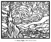 vincent van gogh la nuit etoilee dessin à colorier