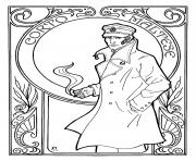 corto maltese art nouveau dessin à colorier