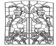 dessin vitrail style art nouveau dessin à colorier
