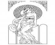 dessin femme inspiration art nouveau dessin à colorier