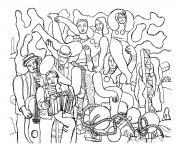fernand leger acrobates et musiciens 1938 dessin à colorier