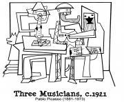 picasto trois musiciens dessin à colorier