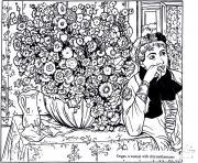 degas femme avec chrysanthemes dessin à colorier