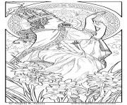 femme style art nouveau dessin à colorier