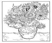 vincent van gogh 12 tournesols dans un vase dessin à colorier