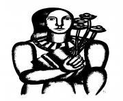 femme au bouquet dessin à colorier