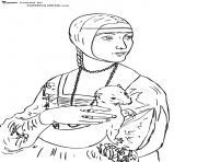 leonard de vinci la dame a l hermine dessin à colorier