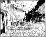 van gogh le cafe de nuit dessin à colorier
