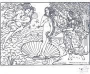 boticelli la naissance de venus dessin à colorier