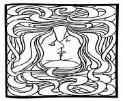 art nouveau dapres le baiser de peter behrens 1898 dessin à colorier