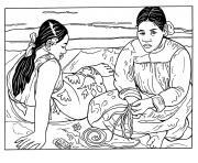 gauguin femme tahitienne dessin à colorier