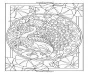 style art nouveau paon dessin à colorier