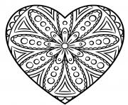 mandala en forme de coeur avec des cercles dessin à colorier