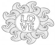 love mandala coeur vagues dessin à colorier