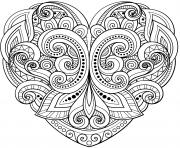 mandala en forme de coeur floral et motifs varies dessin à colorier