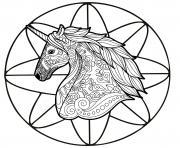 mandala tete de licorne adulte antistress dessin à colorier