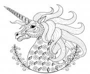 demi mandala licorne magique adulte dessin à colorier