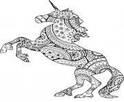 licorne avec zentangle paisley motifs dessin à colorier
