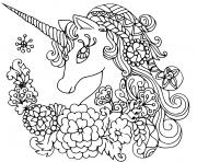 licorne mandala avec de jolies fleurs dessin à colorier