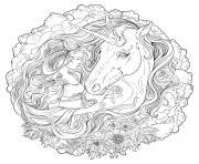 mandala difficile fille et licorne realiste dessin à colorier