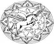 mandala licorne avec des ailes un fond univers dessin à colorier