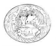 mandala simple avec des chevaux dessin à colorier