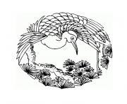 mandala simple oiseau dans son environnement naturel dessin à colorier