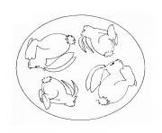 mandala lapin facile dessin à colorier