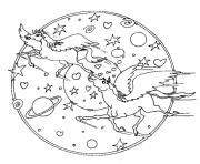 mandala licorne univers pres des etoiles et planetes dessin à colorier