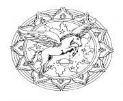mandala simple avec licorne dans le ciel dessin à colorier