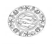 mandala simple de la mer et dauphins dessin à colorier