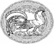 Coq Mandala Par Lesya Adamchuk dessin à colorier