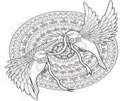 mandala complexe adulte avec deux oiseaux dessin à colorier