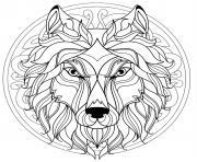 mandala tete loup canis lupus dessin à colorier