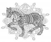 Coloriage mandala animaux cheval difficile