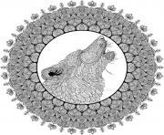 mandala loup difficile complexe adulte dessin à colorier