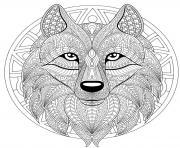 mandala loup difficile complexe beau loup dessin à colorier