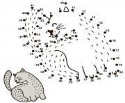 Point A Relier Chiffre Chat Amusant dessin à colorier