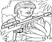soldat de guerre dans la foret dessin à colorier