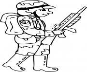 soldat avec fusil de precision dessin à colorier