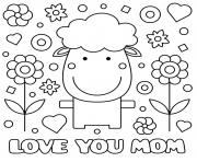 fete des meres sheep fleurs coeurs love you maman dessin à colorier