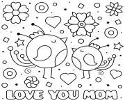 fete des meres love you maman baby birds coeurs fleurs dessin à colorier