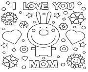 fete des meres rabbit je taime maman dessin à colorier