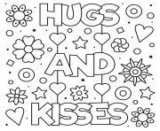 fete des meres hugs and kisses fleurs coeurs dessin à colorier