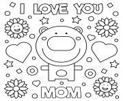fete des meres je taime maman bear coeurs fleurs dessin à colorier