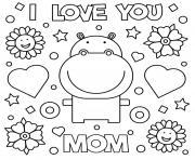 fete des meres je taime maman coeurs fleurs hippo dessin à colorier