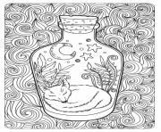 bouteille avec renard dormi dessin animal et foret motif dessin à colorier