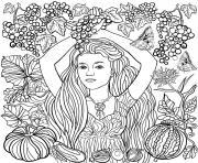 fille dans la nature avec des raisins dessin à colorier